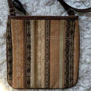 Fossil Signature Fabric Leather Trim Crossbody Bag